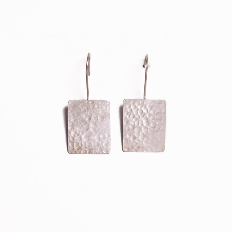 Earrings - Antika - Hammered Silver Geo Rectangle Shape