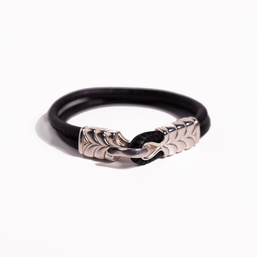 Bracelet - Silver - Leather Hook & Eye