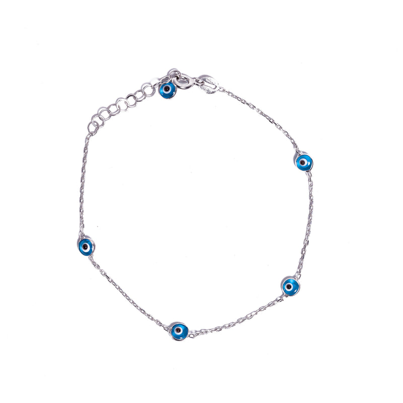 Bracelet - Silver -  Light Blue Small Evil Eye Beads