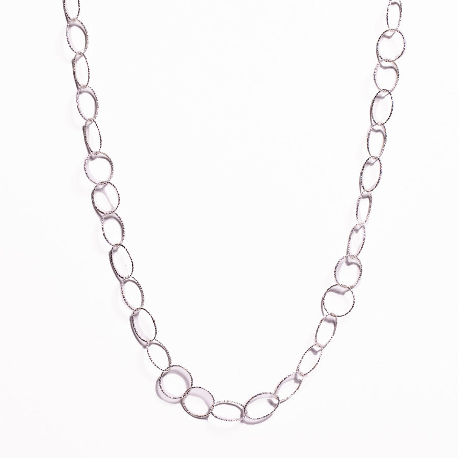Necklace - Silver - Link Chain Oval & Circle