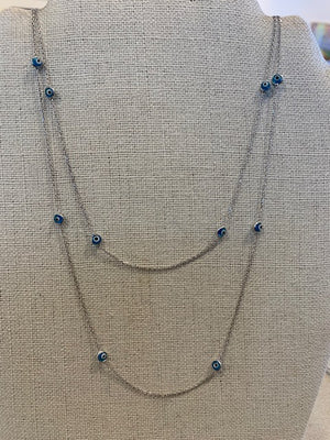 Necklace - Silver - Evil Eye Glass Light Blue Beads Long (also available in dark blue)