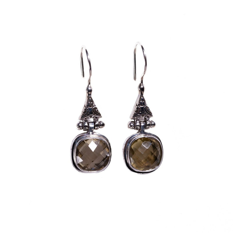 Earrings - Silver - Single Stone Smokey Quartz Dangle various styles and gemstones available please specify