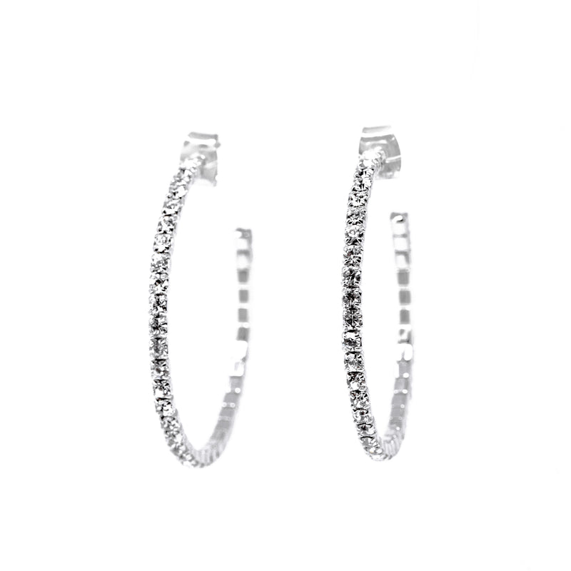 Earrings - Crystal - 1/2 Hoop Large Silver Large