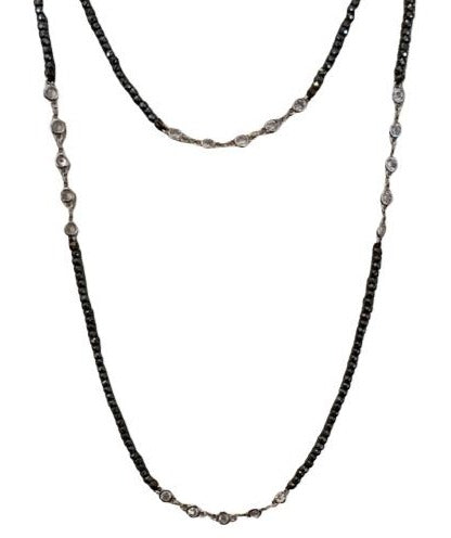 Necklace - Crystal Silver - Hematite Small Bead Long Necklace