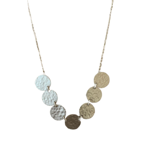 Necklace - Silver - Multi Hammer Disc