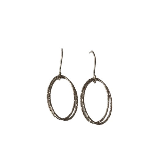 Earrings - Silver - Geo Oval Thin Double