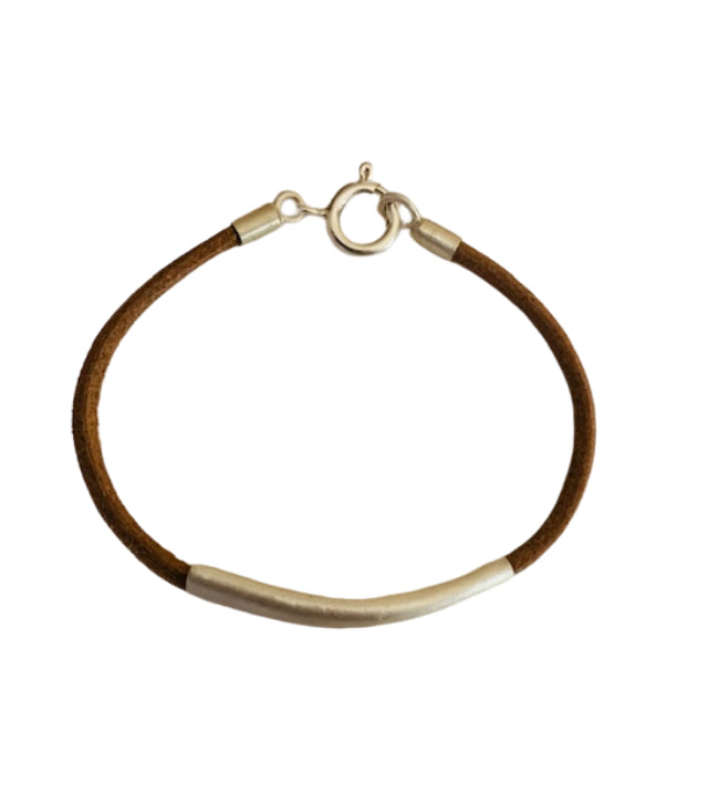 Bracelet - Brushed Silver - Thin Leather
