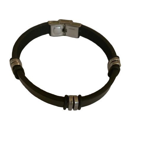 Bracelet - Silver - Men's Leather Plain With 3 Silver Bars