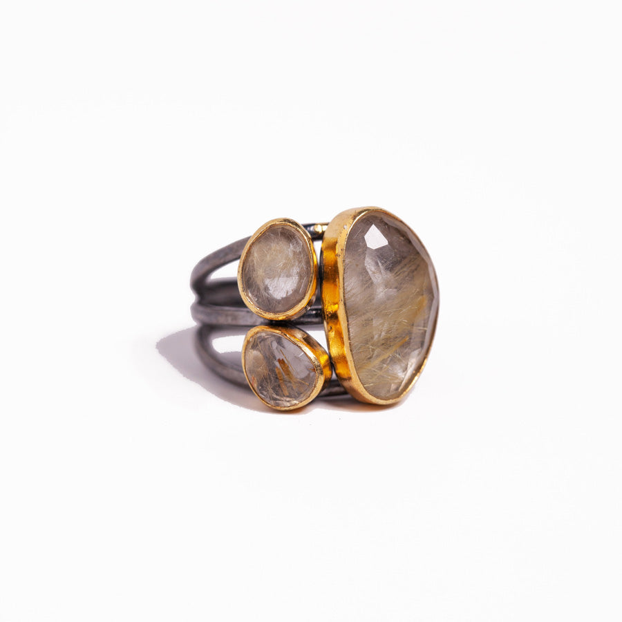 Ring - Antika - 3 Stone Quartz Gold and Silver