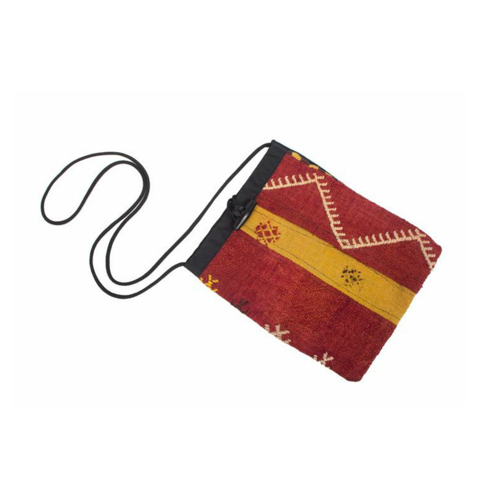 Kilim Purse - Yellow, Black and Deep Red - Beksan Designs