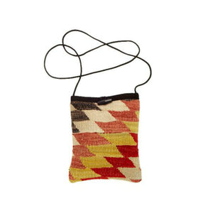 Kilim Purse - Burnt Red, Gold and Beige - Beksan Designs