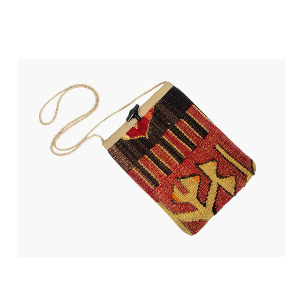 Kilim Purse - Black and Tan - Beksan Designs