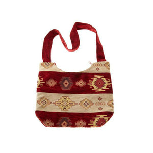 Handbag - Beige and Red Fabric - Beksan Designs