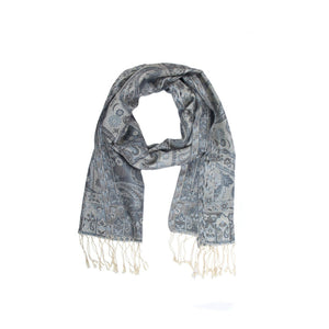 Scarf - Silk - Dark Gray/Black & Light Gray - Beksan Designs