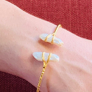 Bracelet - Antika - Two Stone Thin Squeeze White Mother of Pearl