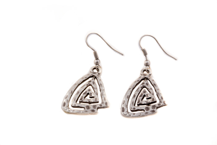 Earrings - Zinc/Silver - Pyramid Shape