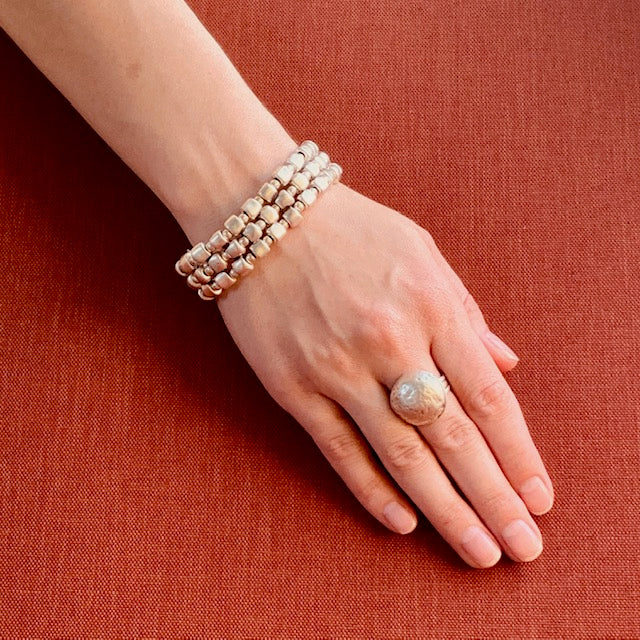 Bracelet - Zinc/Silver - Small Bead 3 Row