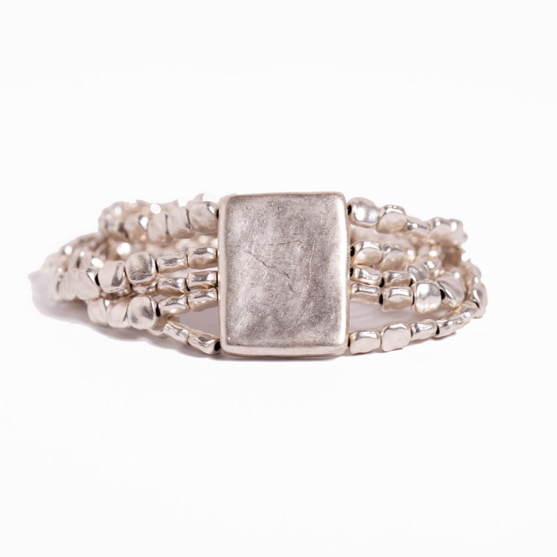 Bracelet - Zinc/Silver - Small Bead 5 Row