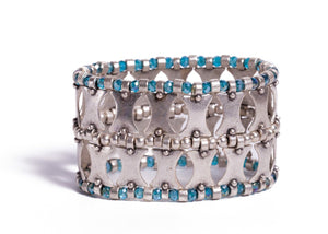 Bracelet - Zinc/Silver - Blue Crystal and Geo