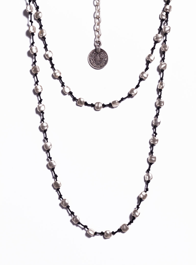 Necklace - Zinc/Silver - Leather, Silver Bead & Coin