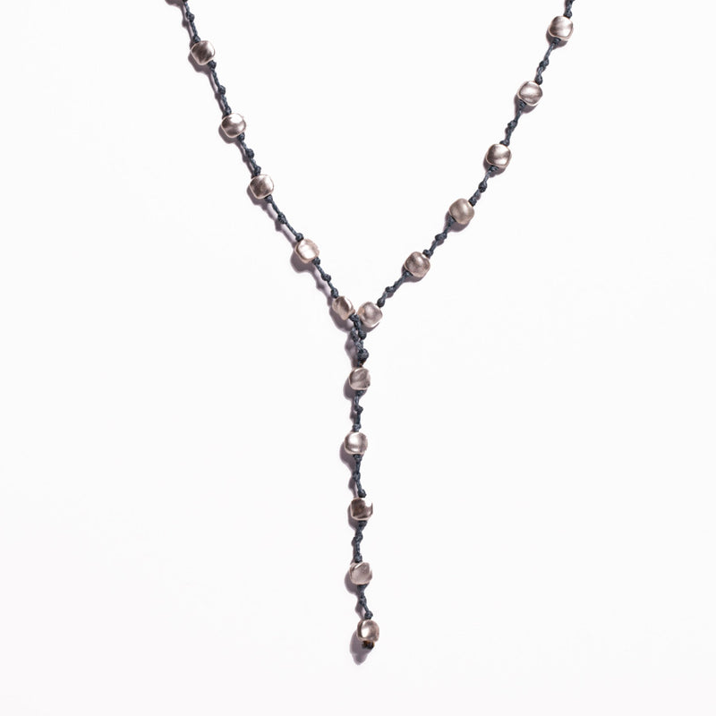 Necklace - Zinc/Silver - Grey Leather, Square Bead & Coin