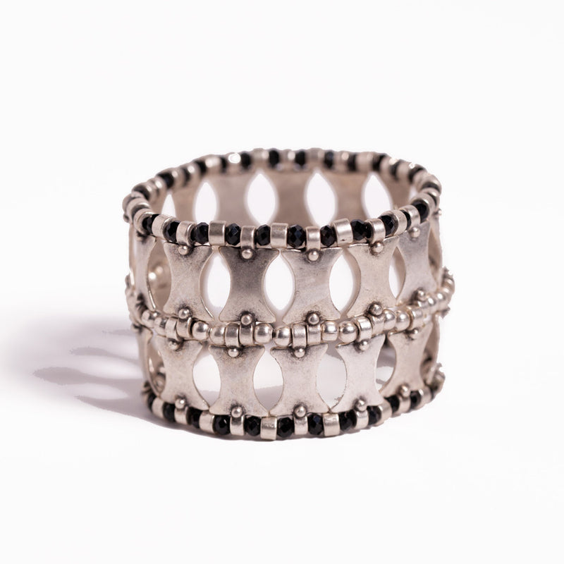 Bracelet - Zinc/Silver - Black Crystal and Geo