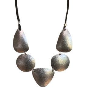 Necklace - Zinc/Silver - Geo Prism & Thin Leather