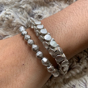 Bracelet - Zinc/Silver- Tiny Hammered Beads
