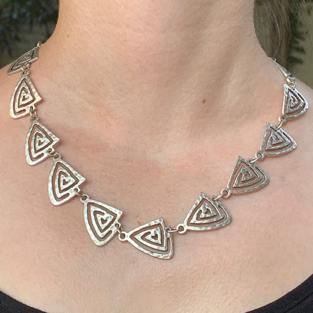 Necklace - Zinc/Silver - Pyramid
