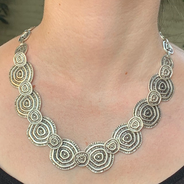 Necklace - Zinc/Silver - Swirl
