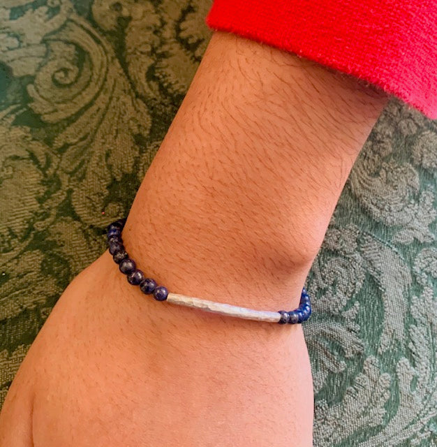 Bracelet - Antika - Small Lapis Gemstone Beads with .925 Silver