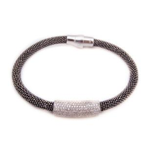 Bracelet - Crystal - Double Black Crystal with White Bar - Beksan Designs