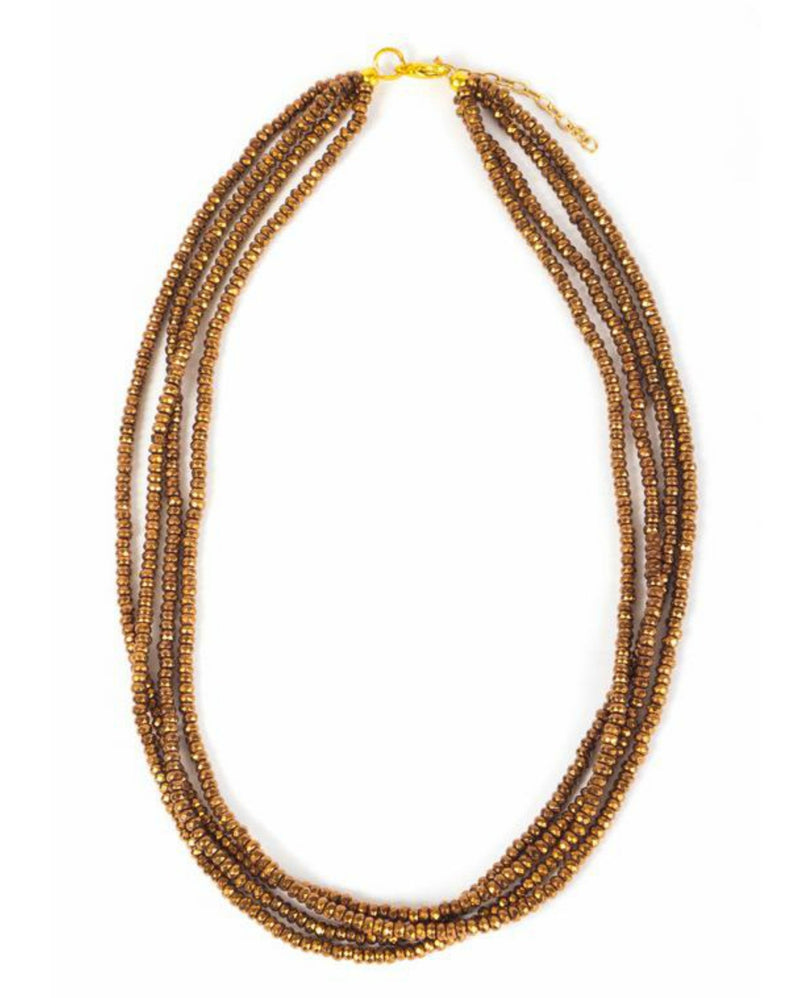 Necklace - Crystal - Amber Small Bead Multi-Strand - Beksan Designs