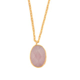 Necklace - Antika - Single Stone Vertical Rose Quartz