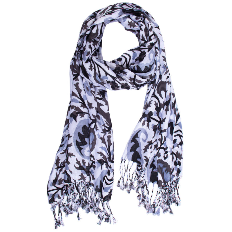 Scarf - Cotton - Black, White, and Light Grey - Beksan Designs