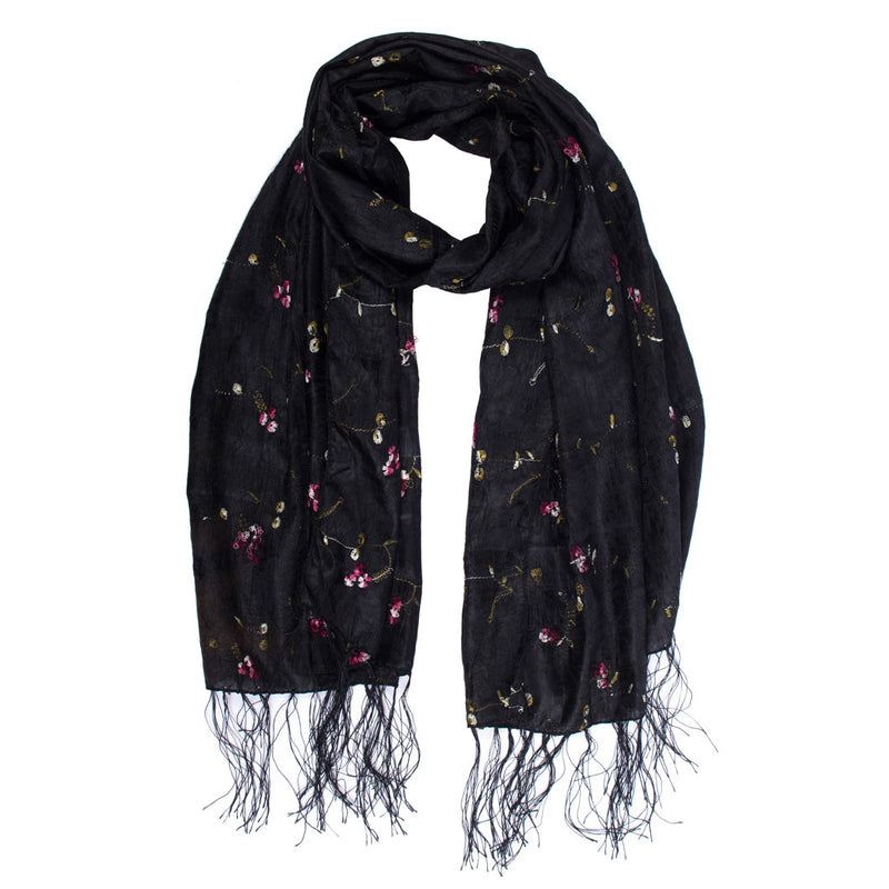Scarf - Silk - Black With Embroidered Flowers - Beksan Designs