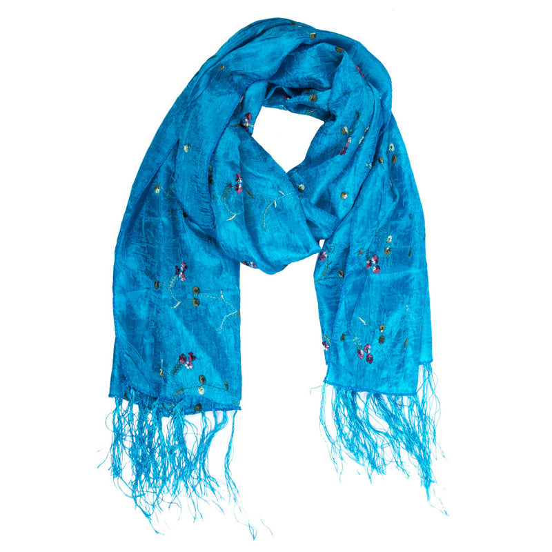 Scarf - Silk - Light Blue With Embroidered Flowers - Beksan Designs