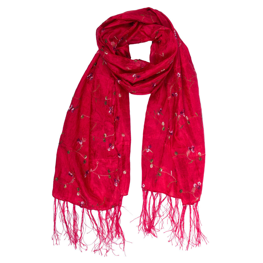 Scarf - Silk - Red With Embroidered Flowers