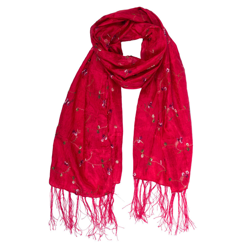 Scarf - Silk - Red With Embroidered Flowers - Beksan Designs