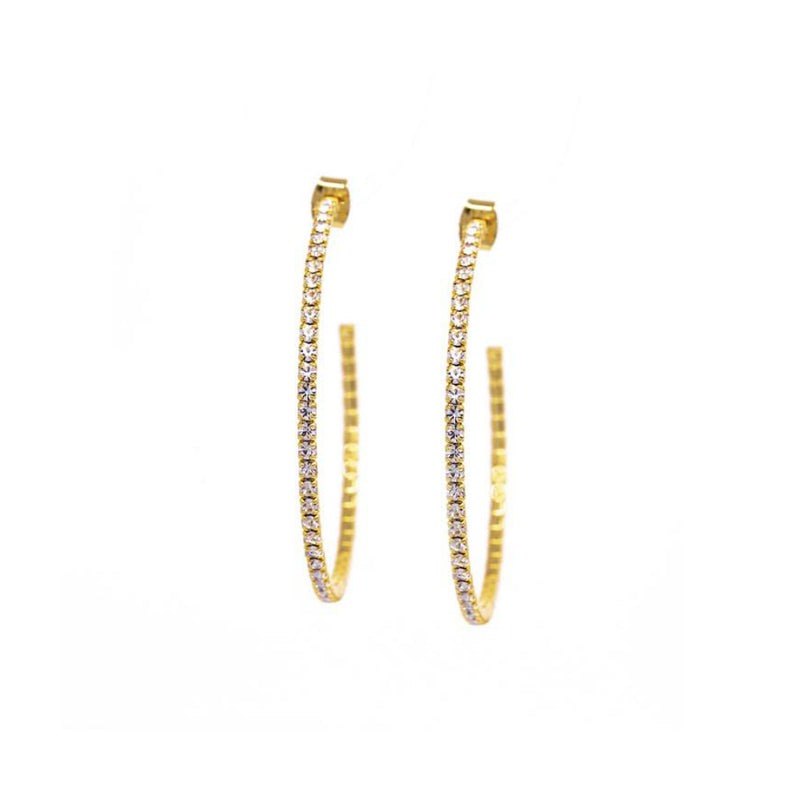 Earrings - Crystal - 1/2 Hoop Large Gold (available in silver and rose gold vermeil as well)