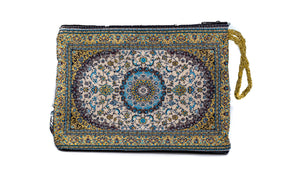 Makeup Bag - Light Blue & Gold - Beksan Designs