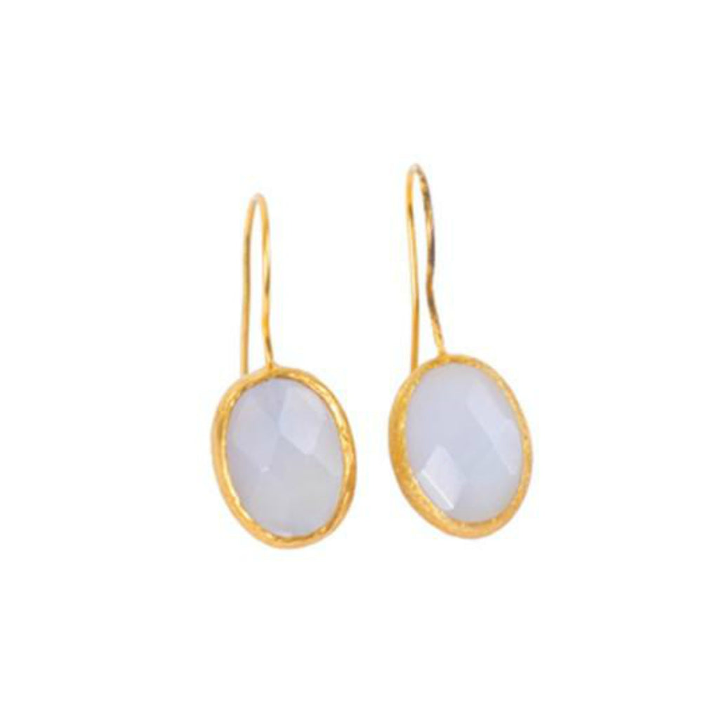 Earrings - Antika - Single Stone Small Moonstone Crystal Cut - Beksan Designs