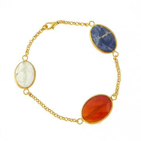 Bracelet - Antika - 3 Stone: Light Green Quartz, Blue Lapis, and Red Agate