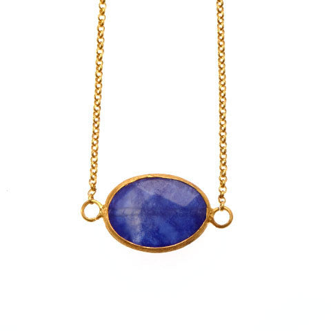 Necklace - Antika - Single Stone (horizontal) Blue Quartz