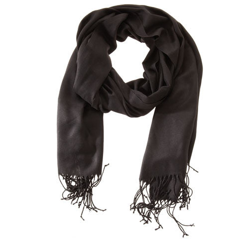 Scarf - Pashmina - Solid Colored Black - Beksan Designs