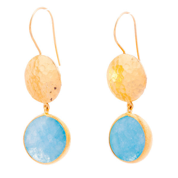 Earrings - Antika - One Gold & One Stone Aquamarine