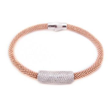 Bracelet - Crystal - Double Rose Gold with White Bar - Beksan Designs