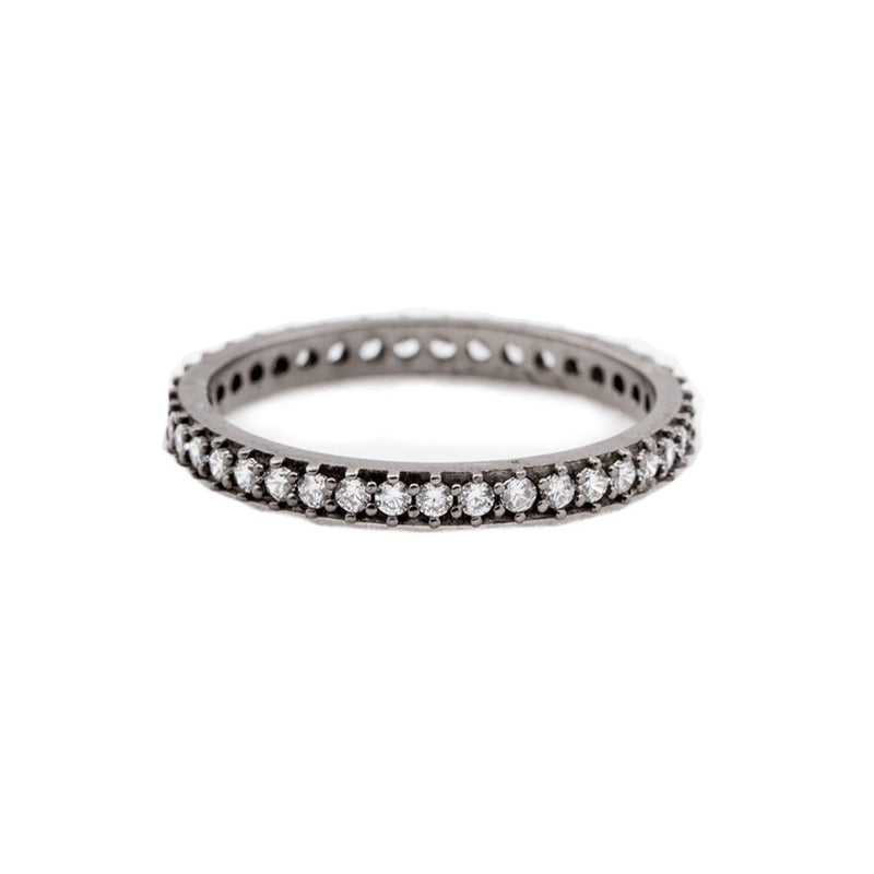 Ring - Crystal - Titanium Single Stack - Beksan Designs