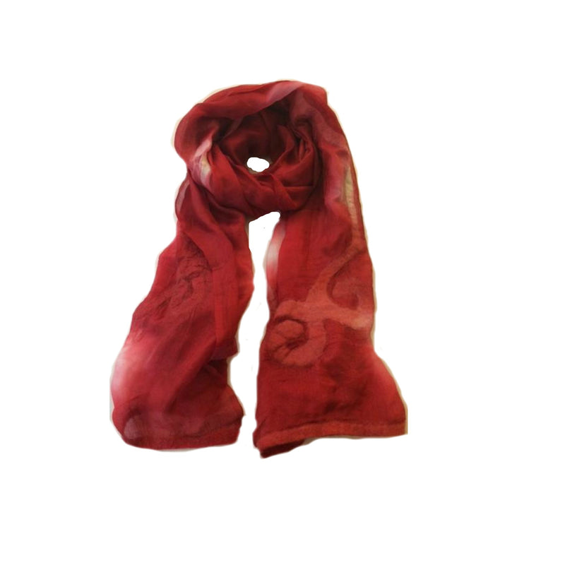Scarf - Silk - Red & Felt Swirl - Beksan Designs