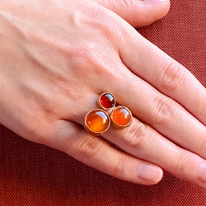 Ring - Antika - 3 Stone Red Agate & Carnalian